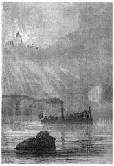 Soon the boat, vintage engraving.