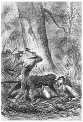 The Bushman ax in hand, vintage engraving.