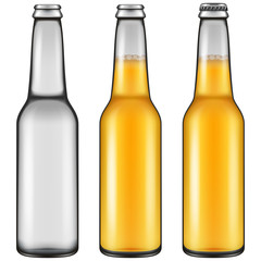 Realistic looking beer bottle illustration - empty, closed full and opened full versions. Vector illustration.