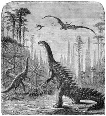 Dinosaurs, Stegosaurus and Compsognathus in an Araucaria landsca