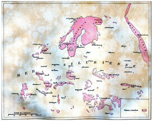 Map of land emerged in Europe at the time of the Silurian sea, v