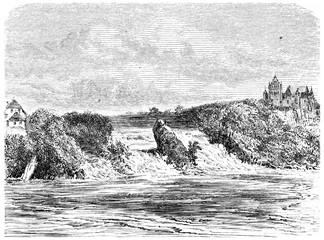 Rhine Fall in Schaffhausen, vintage engraving.