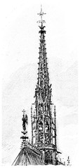 Spire of the Sainte-Chapelle, vintage engraving.
