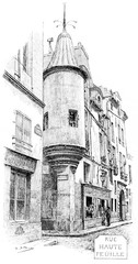 Old Hautefeuille street, vintage engraving.