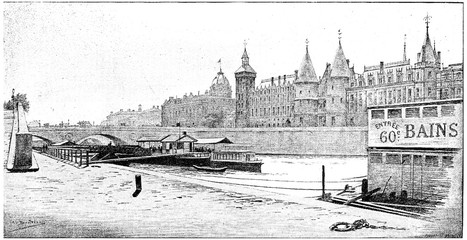 Pont au Change, Commercial Court and Court House, vintage engrav