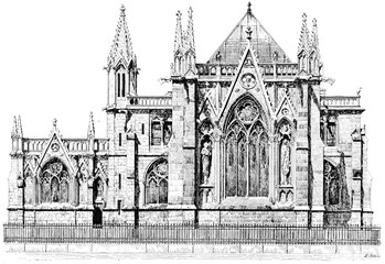 Sacristy of Notre Dame, vintage engraving.