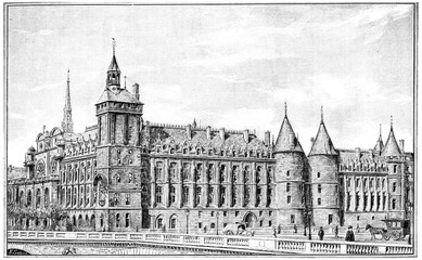Courthouse, vintage engraving.