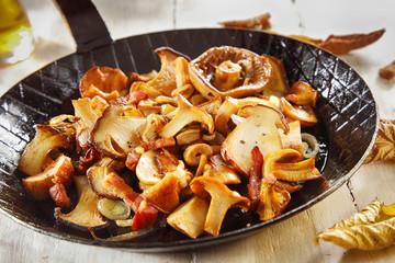 Seasonal autumn cooking with fresh mushrooms