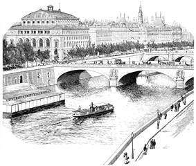 The Seine for the Quai de l'Horloge, vintage engraving.