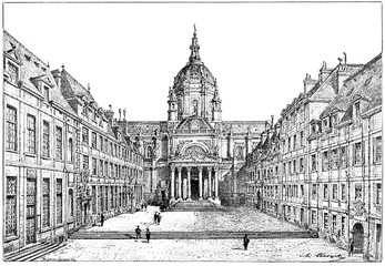 The courtyard of the Sorbonne, vintage engraving.