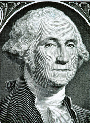 Close up to George Washington portrait on one dollar bill. Toned