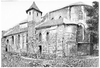 Former Church of Saint-Julien-le-poor, vintage engraving.