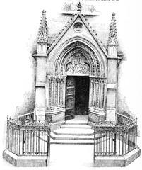 Small portal of Saint-Severin, vintage engraving.