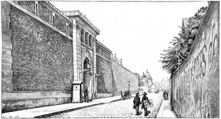 Street Health and the prison, vintage engraving.
