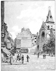 Rue Mouffetard and Saint-Medard church, vintage engraving.