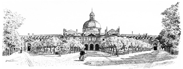 The large interior facade of the Salpetriere, vintage engraving.