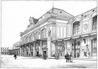 Orleans station, Courtyard of departure, vintage engraving.