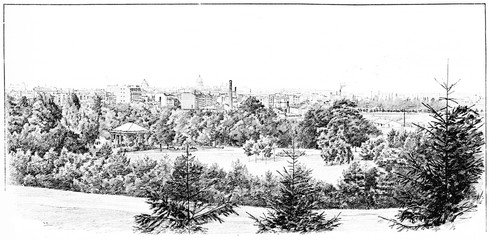 Panorama taken the Parc Montsouris, vintage engraving.