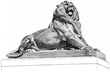 The Lion of Belfort, vintage engraving.