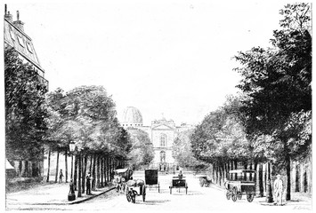 Entrance to the Observatory Avenue, vintage engraving.
