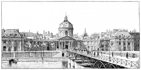 The palace of the Institute and the bridge of Arts, vintage engr