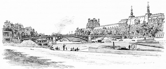The Pont du Carrousel and the Louvre seen from the dock Malaquai