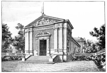 The new museum of Luxembourg, vintage engraving.
