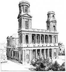 The church of Saint-Sulpice, vintage engraving.