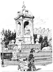 Fountain in the Place Saint-Sulpice, vintage engraving.