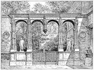 The garden of the School of Fine Arts, vintage engraving. Paris