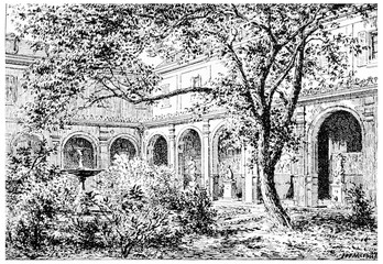 Mulberry Court, vintage engraving.