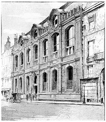Frontage on the quay Malaquais, vintage engraving.