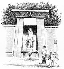 The fountain of the Rue de Sevres, vintage engraving.