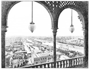 Panorama taken westward, the first platform of the Eiffel Tower