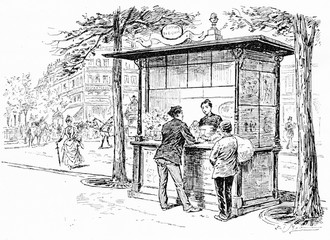 Parisian boulevards buffet, vintage engraving.