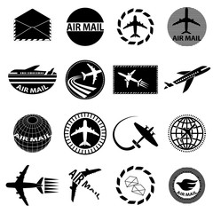 Air mail icons set