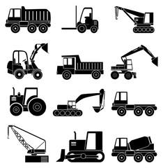 Construction vehicles icons set