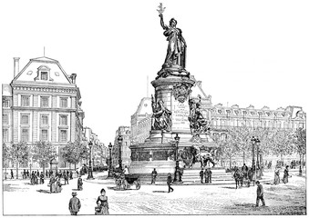 Republic Square, vintage engraving.