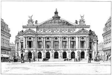 Facade of the opera, vintage engraving.