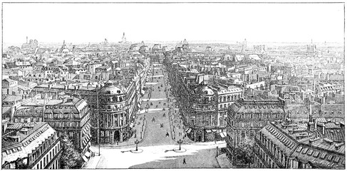 Panorama taken from the Loggia of the Opera, vintage engraving.