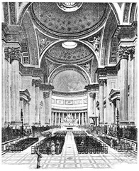 Inside the Church of the Madeleine, vintage engraving.