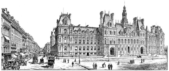 Rue de Rivoli and City Hall, vintage engraving.