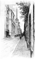 Rue Saint-Louis-en-Ile, vintage engraving.