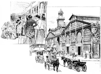 The central aisle, Market Hall, vintage engraving.