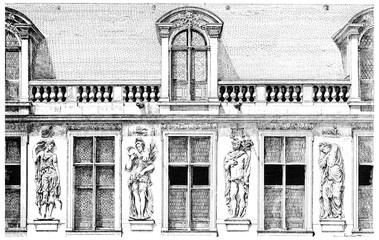 Facade of the Hotel Carnavalet, the courtyard, decorated with fo