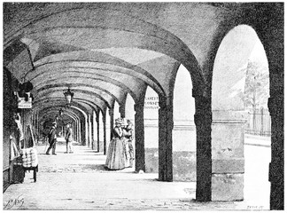 The arcades of the Place des Vosges, vintage engraving.
