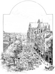 Rambuteau street in the morning, vintage engraving.
