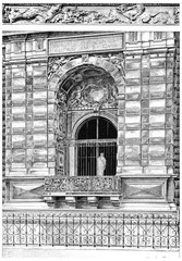 Window of the small gallery on the Quai du Louvre, vintage engra