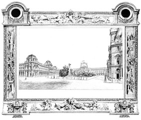 The Louvre seen from the Place du Carrousel, vintage engraving.