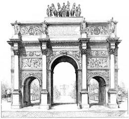 Triumphal arch of the Place du Carrousel, vintage engraving.